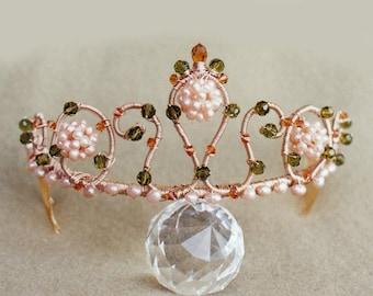 Peach Blossoms - Swarovski crystal and pearl bridal tiara, Wedding tiara with natural pearl and crystal, Swarovski tiara in peach or pink