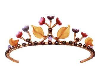 Cinderella tiara, Bridal gold tiara, Wedding tiara,