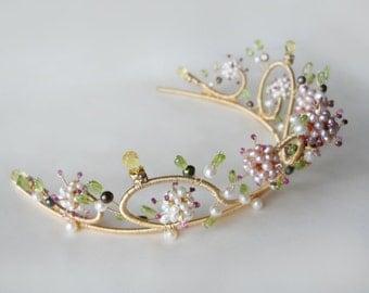 Bridal gold tiara, Ruby and pearl multi-gemstone floral motif gold tiara, Wedding tiara with gemstones and freshwater pearls