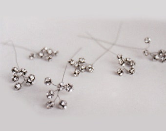 Crystal hair pins, Swarovski crystal and oxidized silver hair pin branches - includes 6 pieces