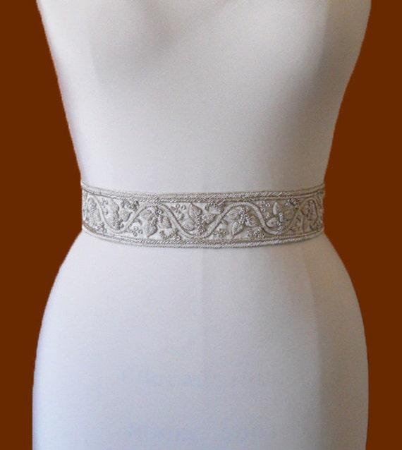 SALE 50% OFF - Bridal belt in silk with silver embroidery