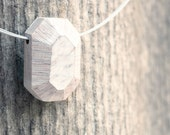 geometrical emerald - white wooden faceted gem pendant