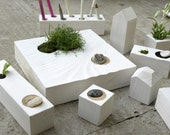 miniature wooden Zen Garden - planter  - Block9 - white