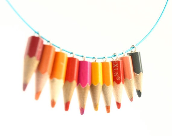 Pink Mango - colorful pencil choker necklace - whimsical jewelry