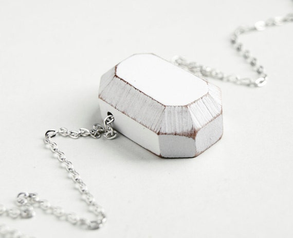 Diamond. handcrafted facet gem. white wood jewelry. geometric necklace on silver plated chain