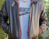 Men's Leather Jacket / Bomber - dark maroon - Medium