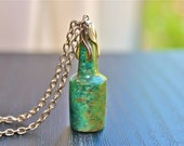 Vintage Necklace - Jade Green Bottle & Silver