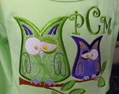 Owls on a Branch T-Shirt Dress Monogrammed with Initials by Sew Jewell