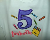 Crayon Party T-Shirt Monogram with Applique Age by Sew Jewell