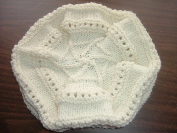 Handknit Slouchy Hat Aran, Ecru 100% Marino Wool