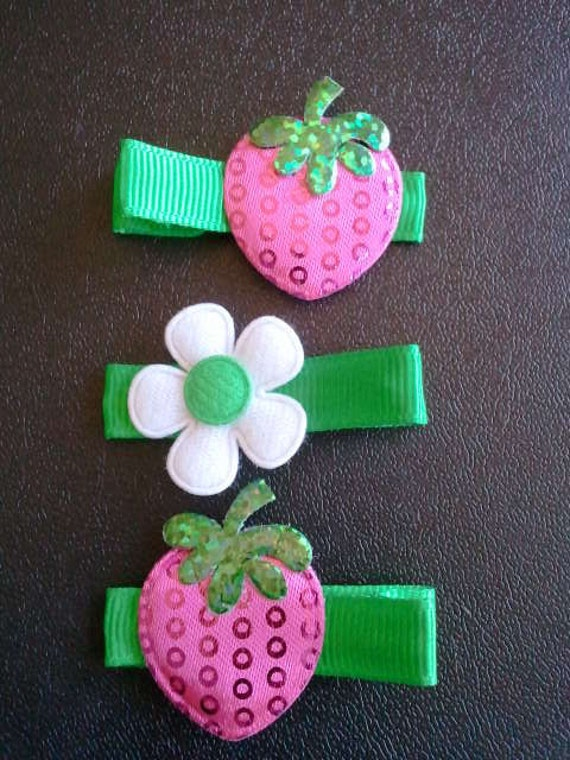 Felt Strawberries and Flower Hair Clips -- Set 1