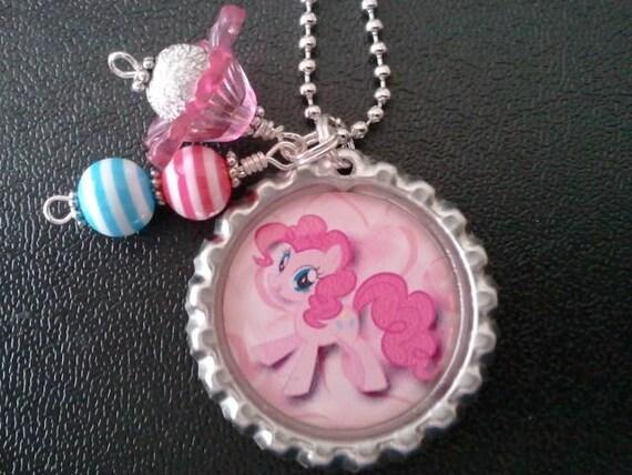 Little Girls Pony Charm Pendant Bottle Cap Necklace Child Kid Birthday Valentines Easter Pink Pony Pie Horse Rainbow Sparkle