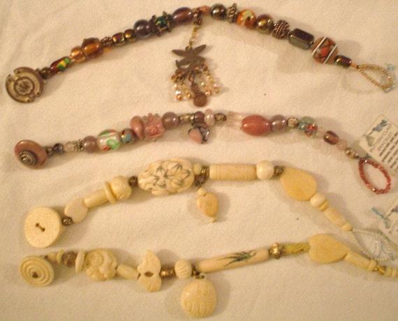 4 unique beaded gemstones bracelets with antique button clasp