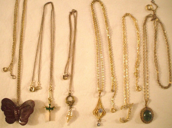 6 vintage 14kt gold elegant necklaces