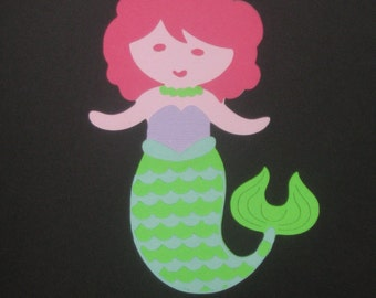 Little Mermaid Die Cut for party decor, cupcake toppers, scrapbooking, banners