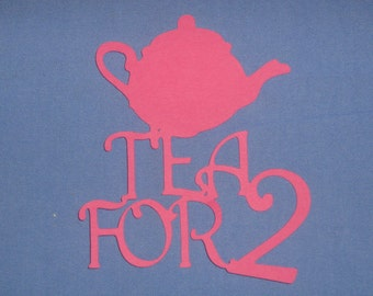 Die cut paper Tea for 2 for baby shower, scrapbooking, invitations, birth announcements, decor