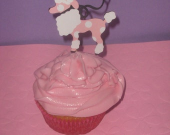 Pink Poodles in Paris, Retro 50's cupcake toppers for birthdays, baby showers, bridal showers
