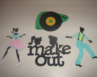 Die Cut retro 1950's Teen Dance classics for party decorations, invitations, banners room decor, scrap booking