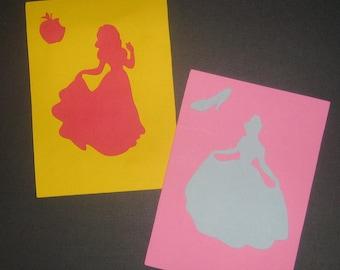 Disney Princess Silhouette invitations for birthday, baby shower, Belle, Cinderella, Sleeping Beauty, Jasmine, Ariel, Snow White