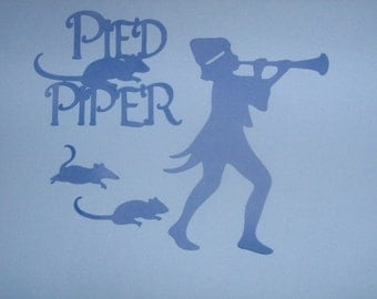Pied Piper die cut for ursery art, scrap booking, baby shower invitations, favor bags, banners