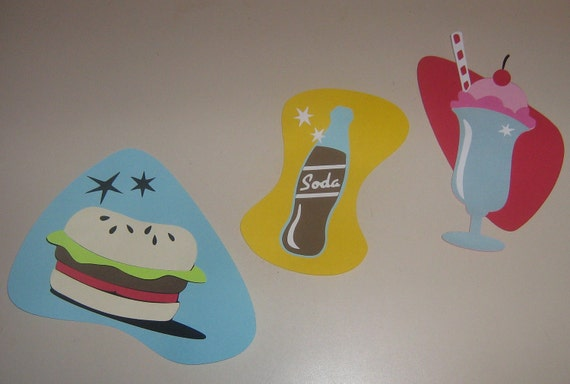 1950's retro Diner classics for party decorations, invitations, banners room decor, scrap booking