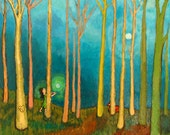 4 x 5 Giclee Print - Nature, Trees, Forest, Orbs, Lovers, and Fox Amidst a Teal, Turquoise Blue Sky