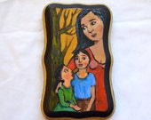 Small Folk Art Portrait of a Mother and Her Children - Family - Acrylic Painting on Wood - Original