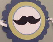 Party Banner: Little Man Mustaches and Ties in Blue Green & Brown - Boy Baby Shower or Kids Birthday Party Decorations