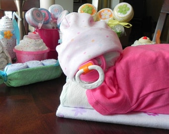 Sleeping Baby Diaper Cake   Baby Blanket Bodysuit Hat Socks Pacifier Baby  Shower Gift Cute Unique