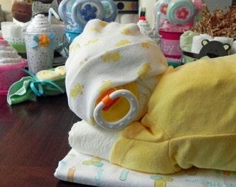 Sleeping Baby Diaper Cake - baby blanket Bodysuit hat socks pacifier baby shower gift cute unique boy girl neutral