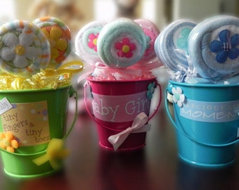 Washcloth Lollipop Pail - Unique Baby Shower Gifts and Favors