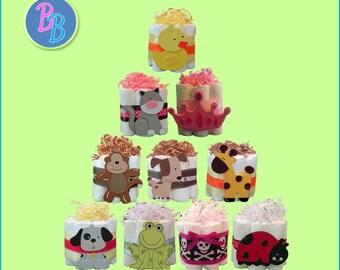 Mini Diaper Cakes - Unique Baby Shower Gift, Centerpiece, Favor cute owl turtle sun moon ladybug jungle train rockstar guitar