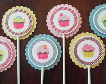 Cupcake Theme Cupcake Toppers - Pink, Yellow and Teal Baby Shower and Party Decorations