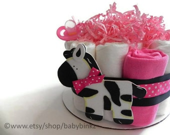 Pink  Zebra Diaper Cake - One Tier  Baby Shower gift or centerpiece cute unique girl custom