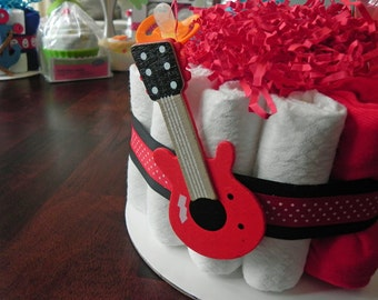 Rock & Roll Guitar Diaper Cake - One Tier  Baby Shower gift or centerpiece cute unique boy custom