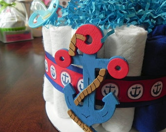 Nautical Anchor Diaper Cake - One Tier  Baby Shower gift or centerpiece cute unique girl custom