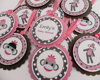 Party Favor Gift Tags Pink & Brown Sock Monkeys - Party and Baby Shower Decorations