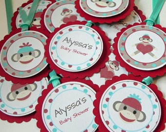 Party Favor Gift Tags Red & Blue Sock Monkey Party and Baby Shower Decorations