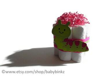Caterpillar Mini Diaper Cake - Unique Baby Shower Gift, Centerpiece, Favor cute jungle princess animals boy girl neutral custom