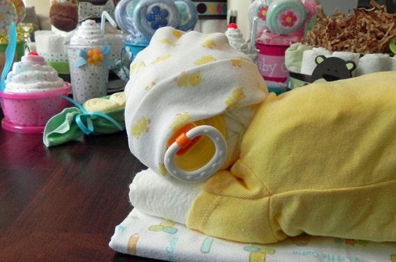 Sleeping Baby Diaper Cake Baby Blanket Bodysuit Hat Socks
