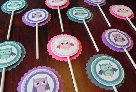 Cupcake Toppers: Girl Owls in Pink, Purple & Teal - Baby Shower Decorations