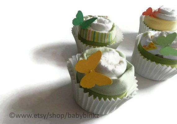 Diaper & Bodysuit Cupcake Gift Set - Cute Unique Baby Shower Gift girl boy neutral