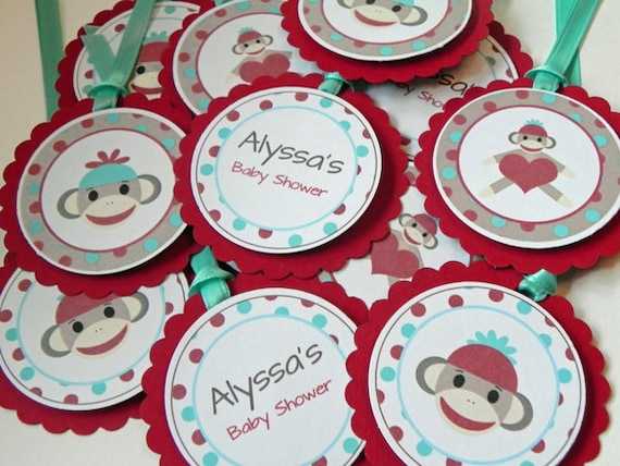 Party favor gift tags red blue sock monkey party by babybinkz - Monkey baby shower favors ideas ...