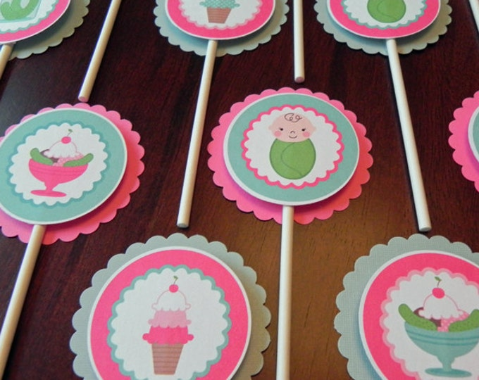 Cupcake Toppers: Pickles & Ice cream - Pink and Teal Baby Shower Decorations