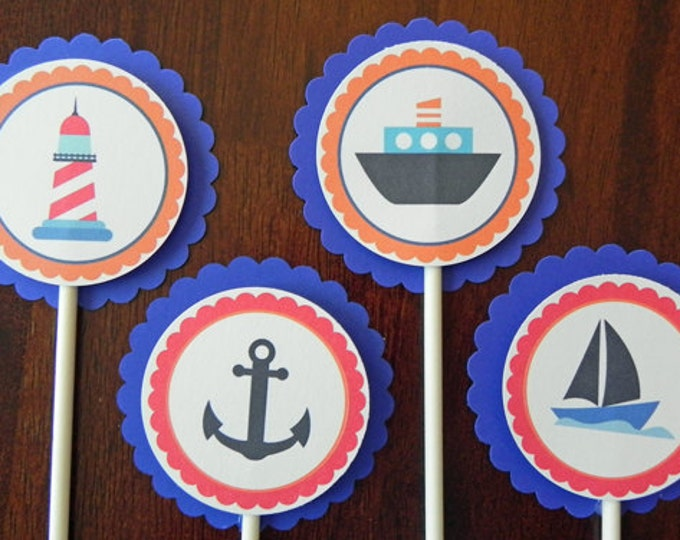 Cupcake Toppers: Blue Nautical Theme with Boats & Anchors- Baby Shower and Party Decorations