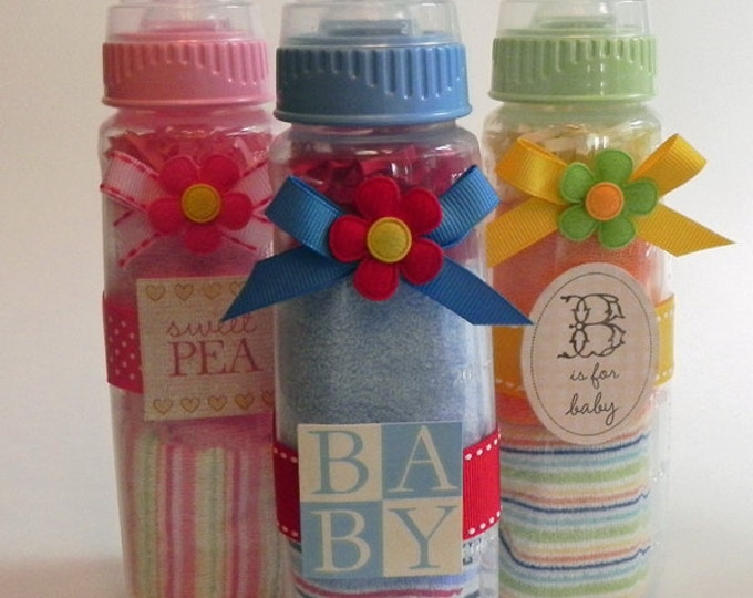 Washcloth Baby Bottle - Unique Baby Shower Gifts and Favors infant washcloth girl boy neutral