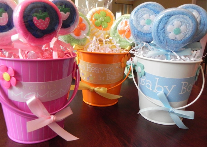 Unique Girl Baby Shower Favors Washcloth Lollipop Pai...