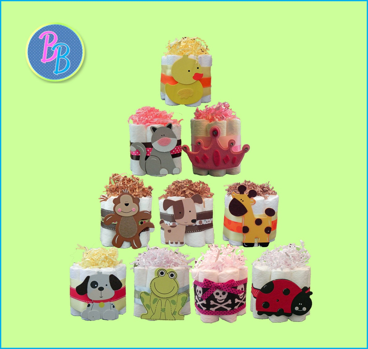 Mini Diaper Cakes Unique Baby Shower Gift Centerpiece