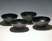 "Beautiful Handmade Set of 4 Black Bowls ""Ready Made"" by Taylor Made Pottery"