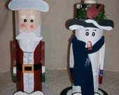 Santa and Snowman Handpainted Votive Candleholders